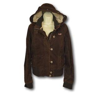 Hollister Suede  Fur Lined  Bomber Hooded Jacket L